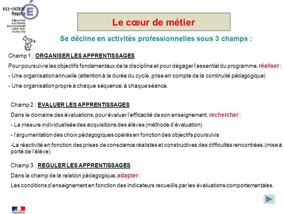 Le cœur de métier Se décline en activités professionnelles sous 3 champs : Champ 1 : ORGANISER LES APPRENTISSAGES.