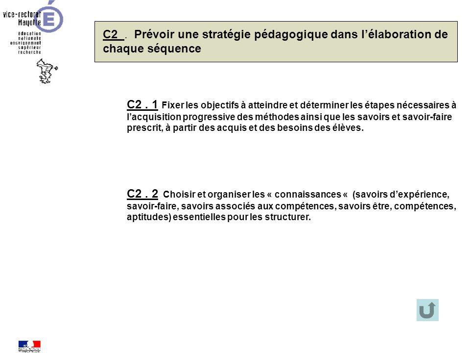 C2 . Prévoir une stratégie pédagogique dans l'élaboration de chaque séquence