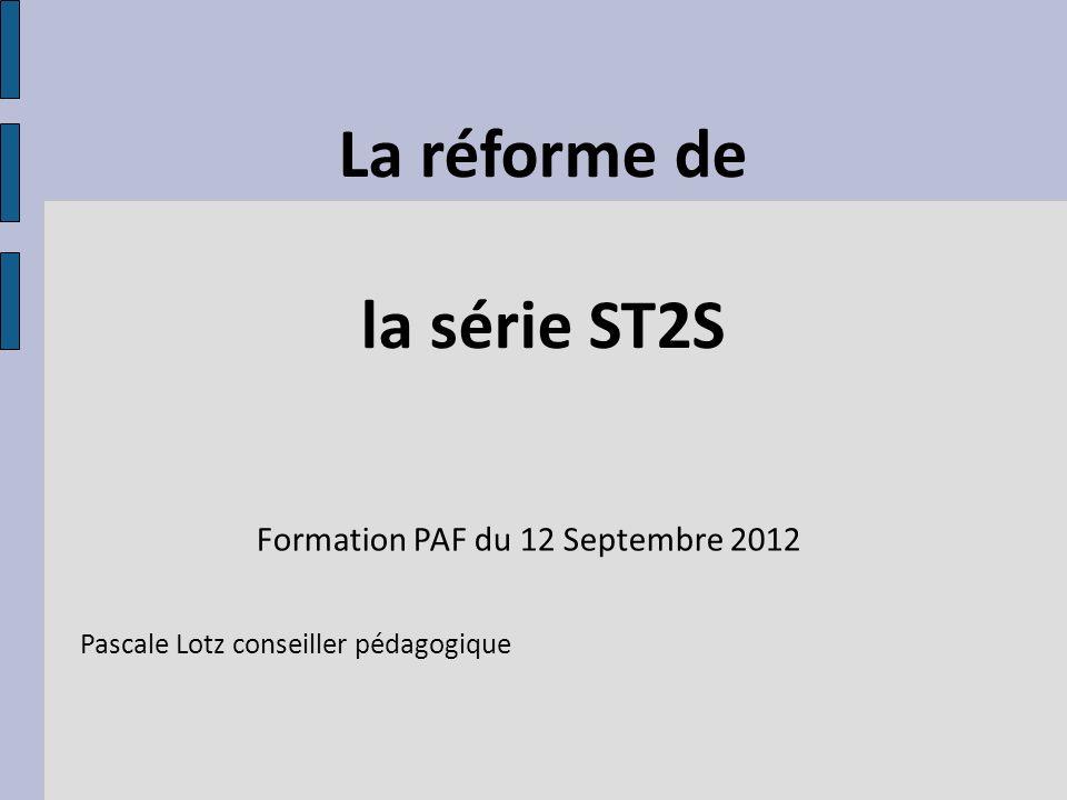 La réforme de la série ST2S