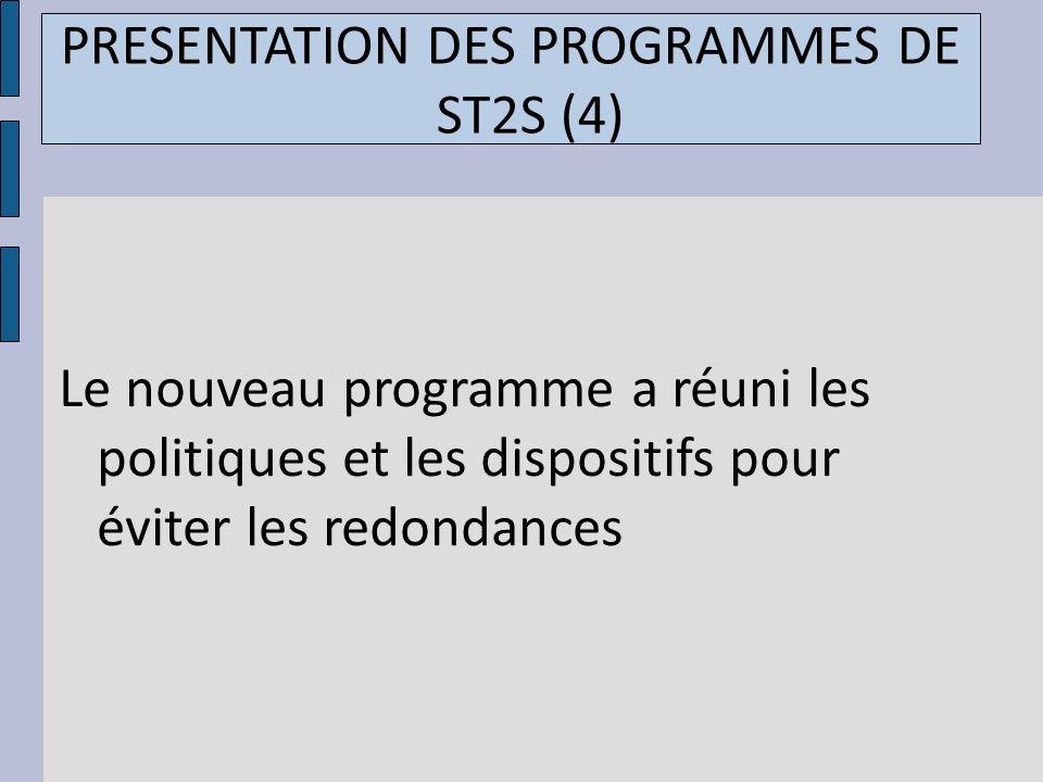 PRESENTATION DES PROGRAMMES DE ST2S (4)