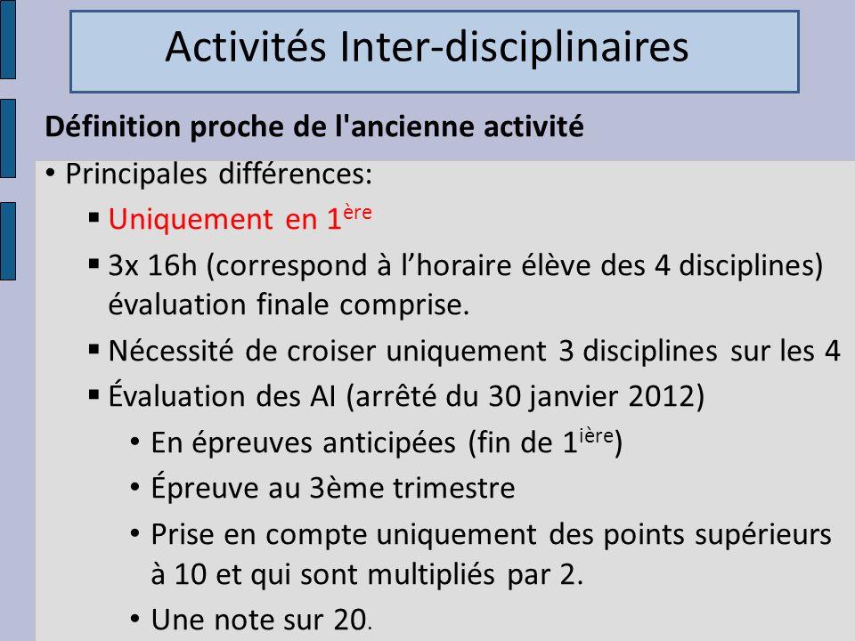 Activités Inter-disciplinaires
