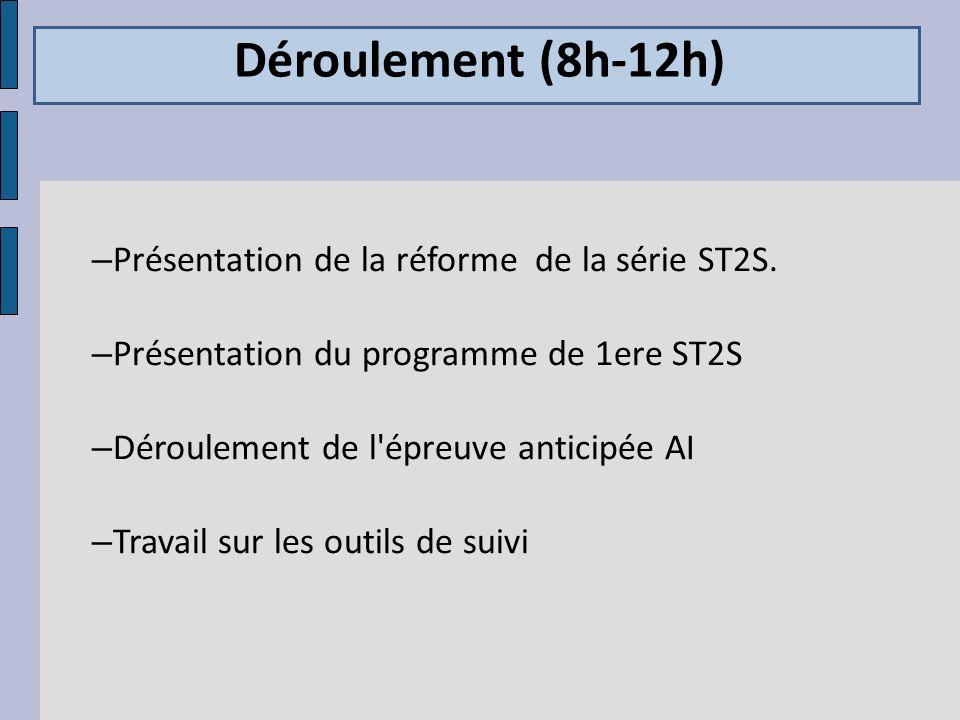 Déroulement (8h-12h) Présentation de la réforme de la série ST2S.
