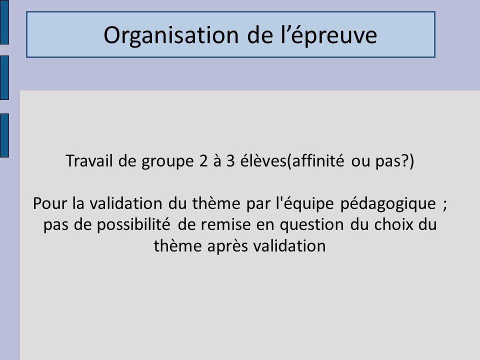 Travail de groupe 2 à 3 élèves(affinité ou pas )