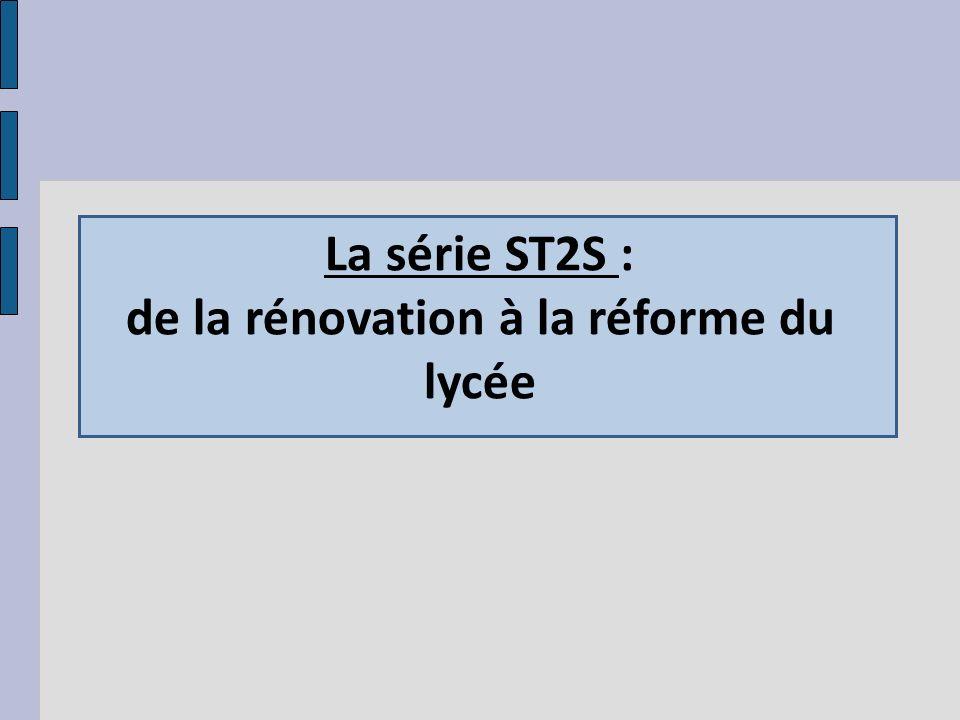 La série ST2S : de la rénovation à la réforme du lycée