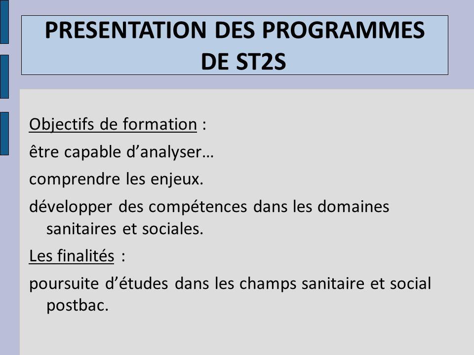 PRESENTATION DES PROGRAMMES DE ST2S