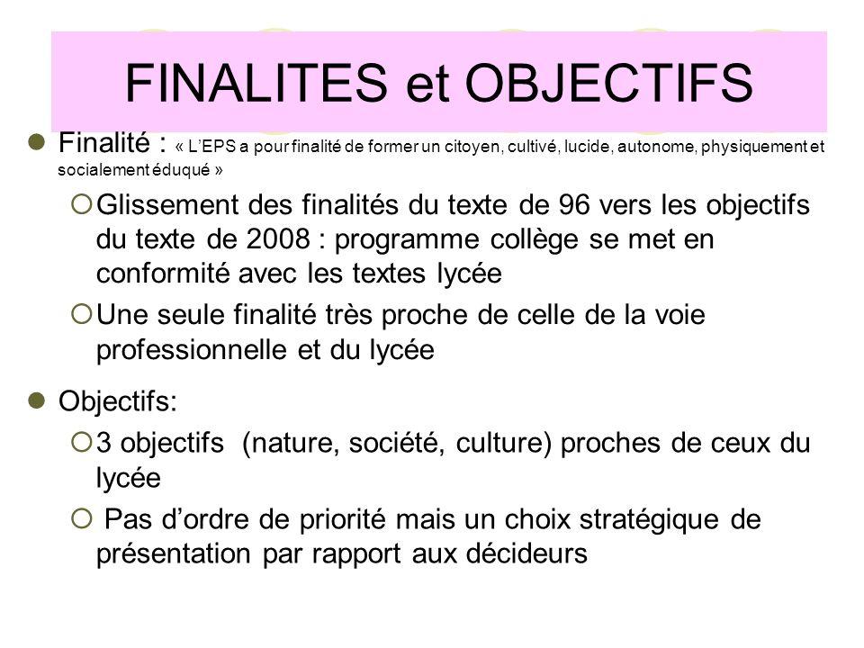 FINALITES et OBJECTIFS