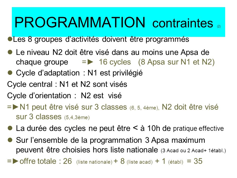 PROGRAMMATION contraintes (2)