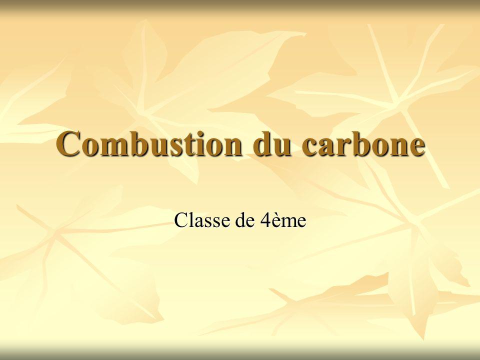 Combustion du carbone Classe de 4ème