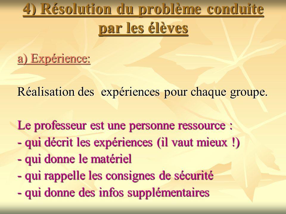 4) Résolution du problème conduite par les élèves