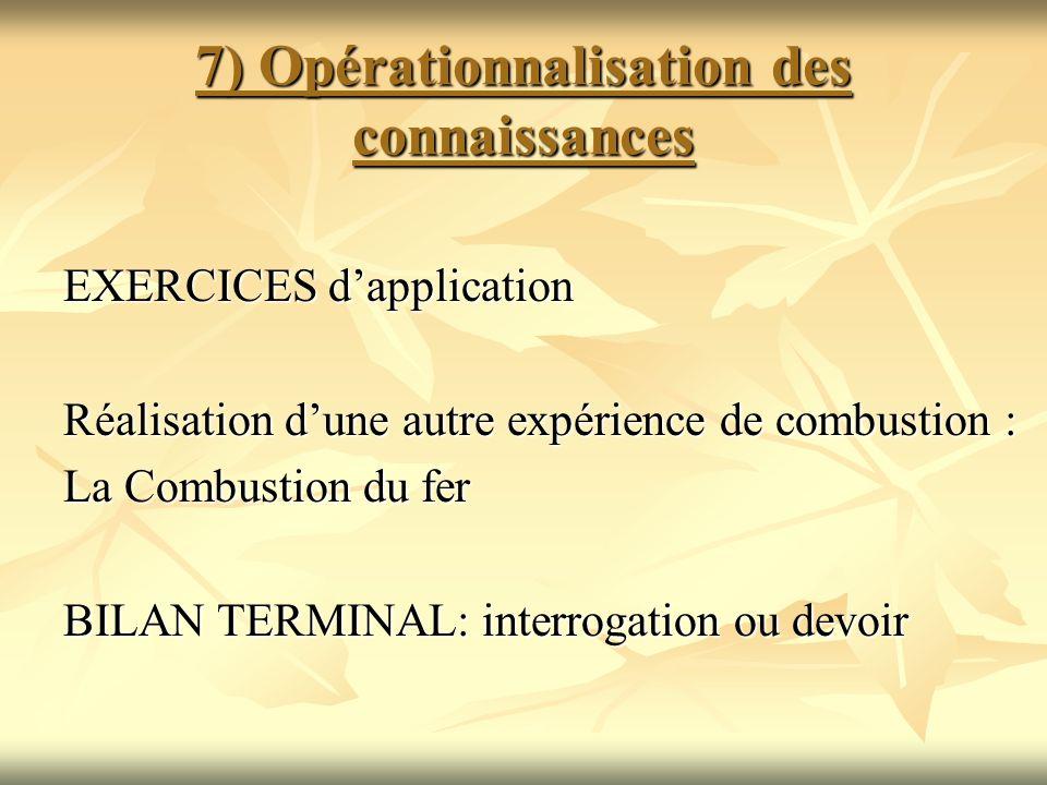 7) Opérationnalisation des connaissances