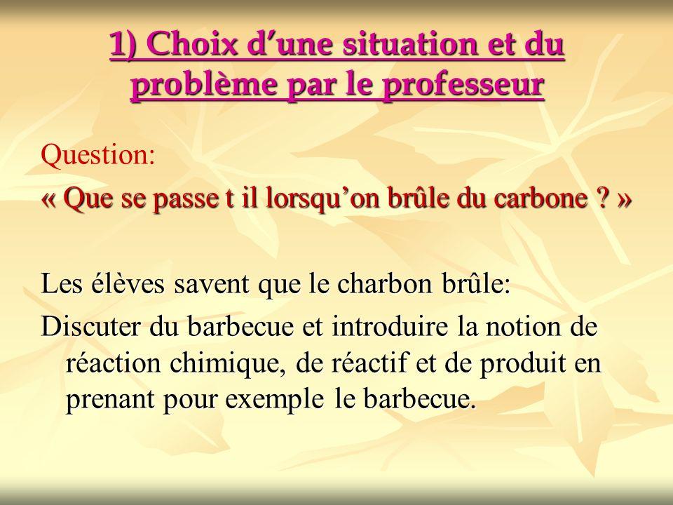 1) Choix d'une situation et du problème par le professeur