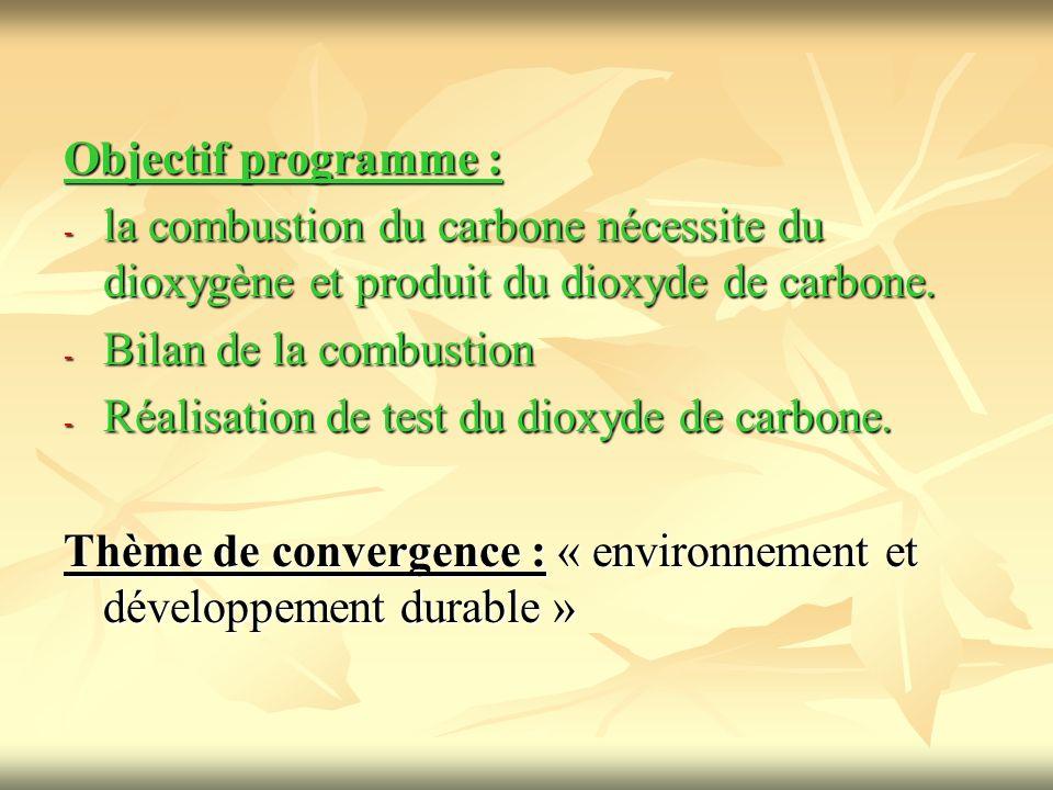 Objectif programme : la combustion du carbone nécessite du dioxygène et produit du dioxyde de carbone.