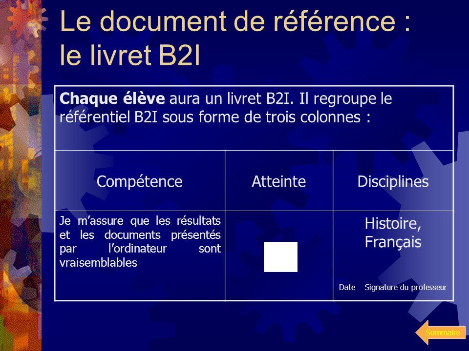 Le document de référence : le livret B2I