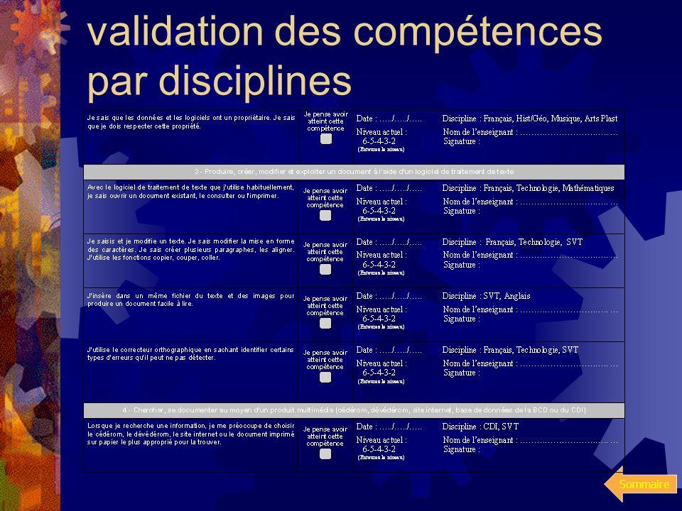validation des compétences par disciplines