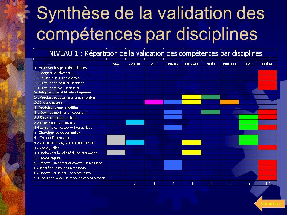 Synthèse de la validation des compétences par disciplines