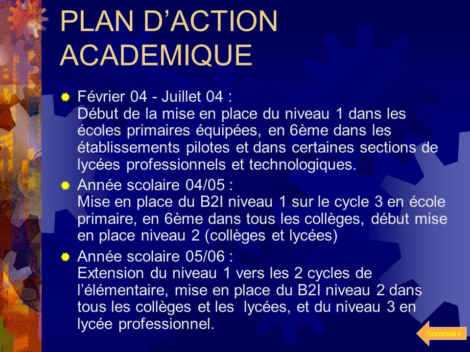 PLAN D'ACTION ACADEMIQUE