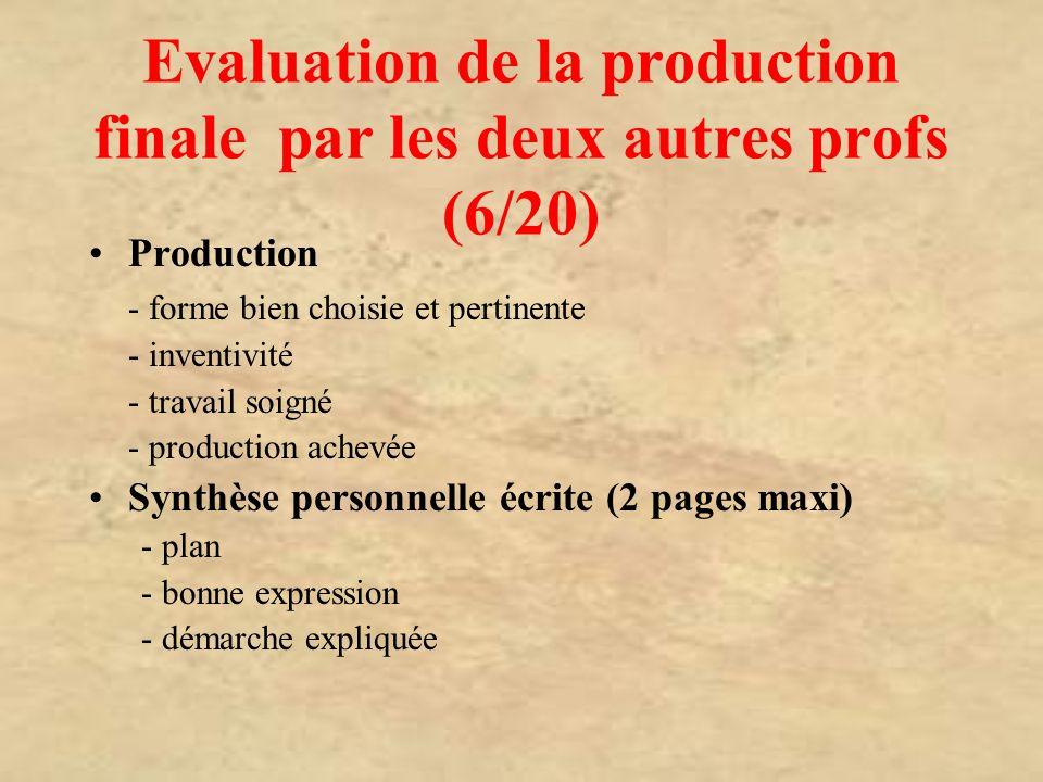 Evaluation de la production finale par les deux autres profs (6/20)