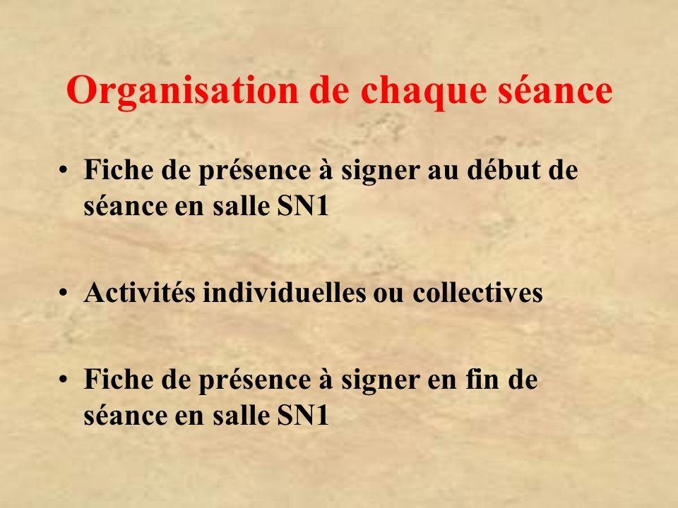 Organisation de chaque séance