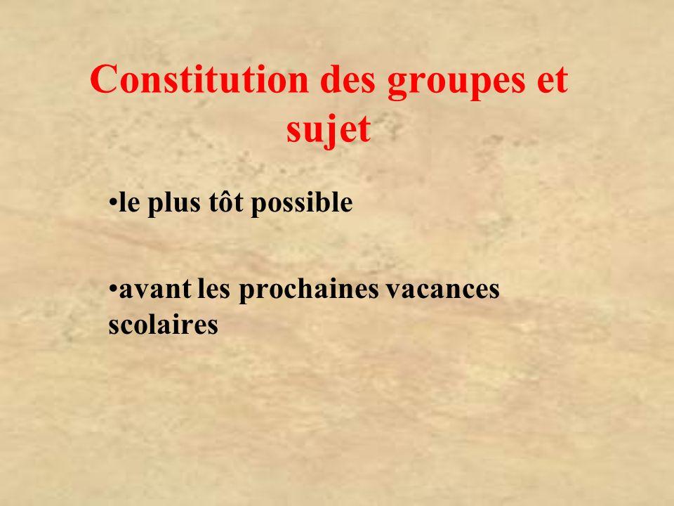 Constitution des groupes et sujet
