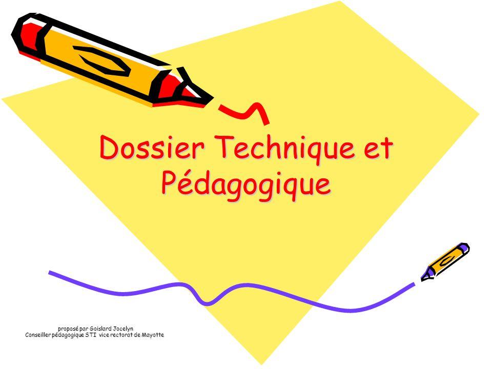 Dossier Technique et Pédagogique