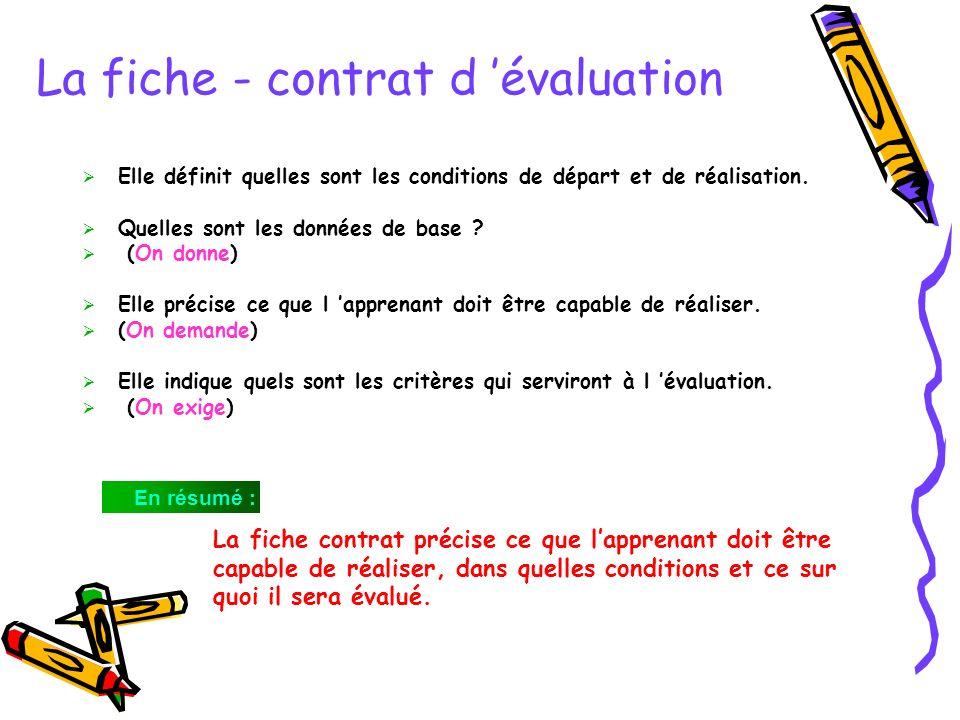 La fiche - contrat d 'évaluation