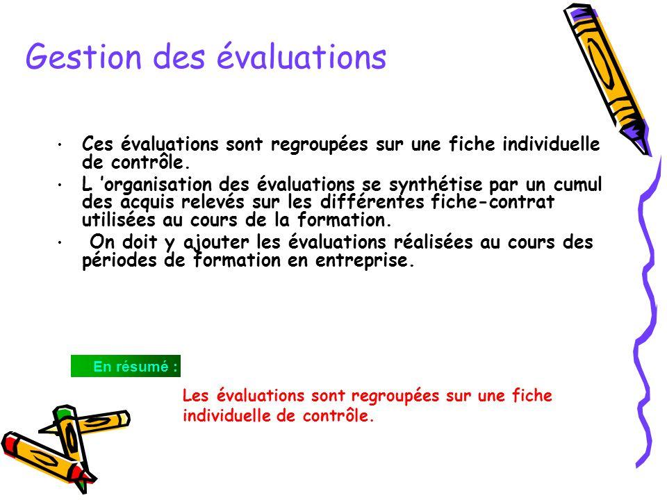 Gestion des évaluations