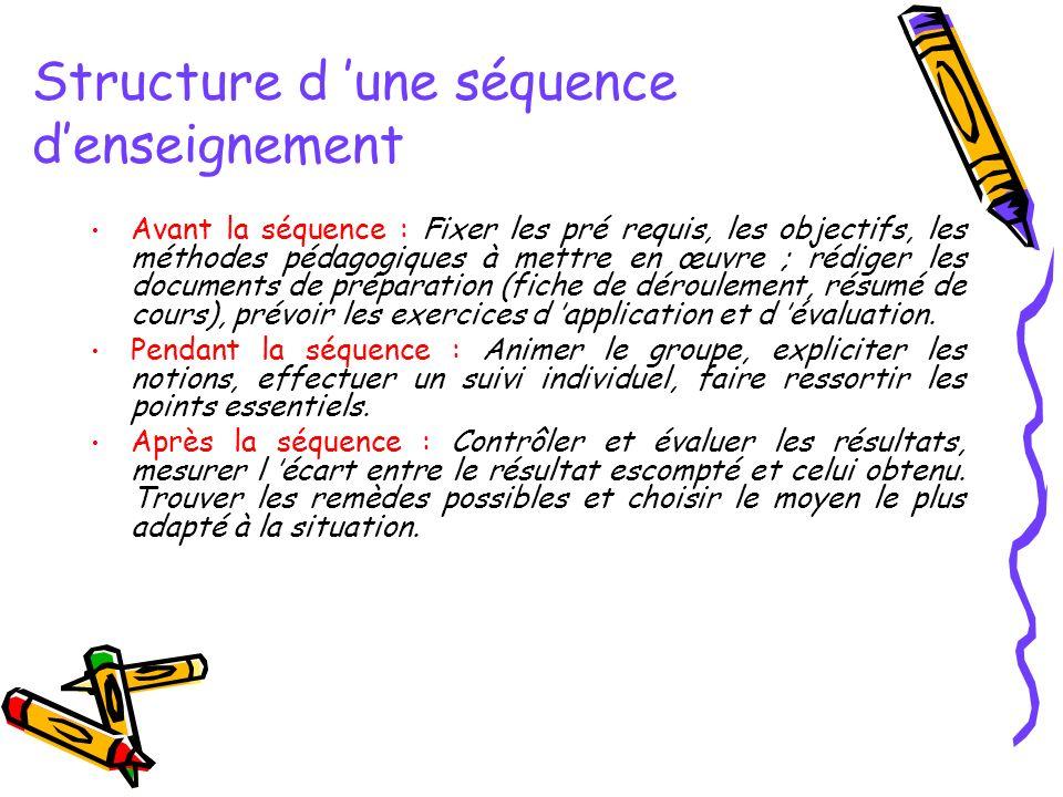 Structure d 'une séquence d'enseignement