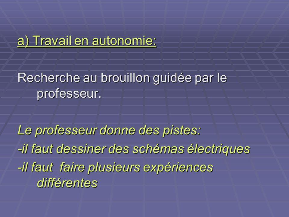 a) Travail en autonomie: