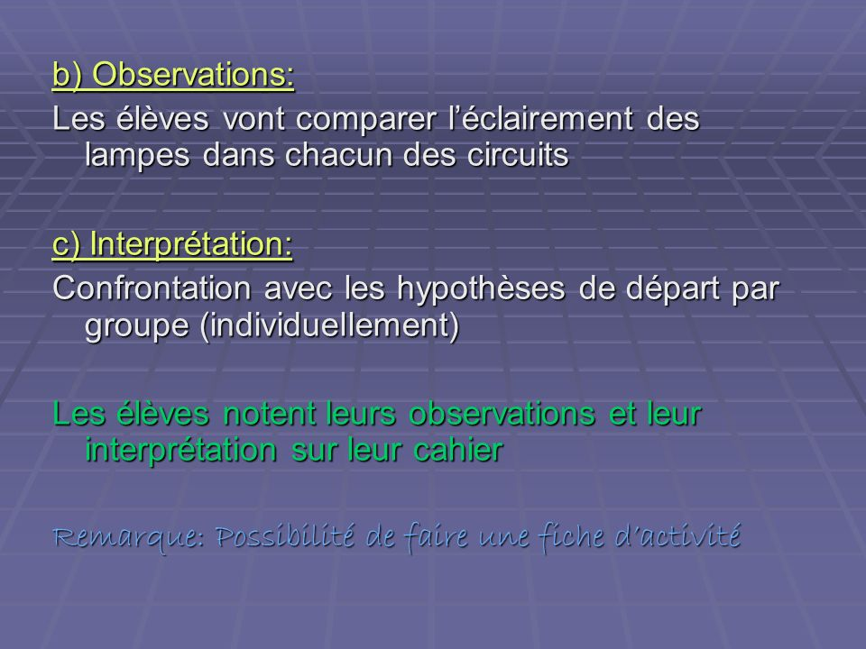 b) Observations: Les élèves vont comparer l'éclairement des lampes dans chacun des circuits. c) Interprétation: