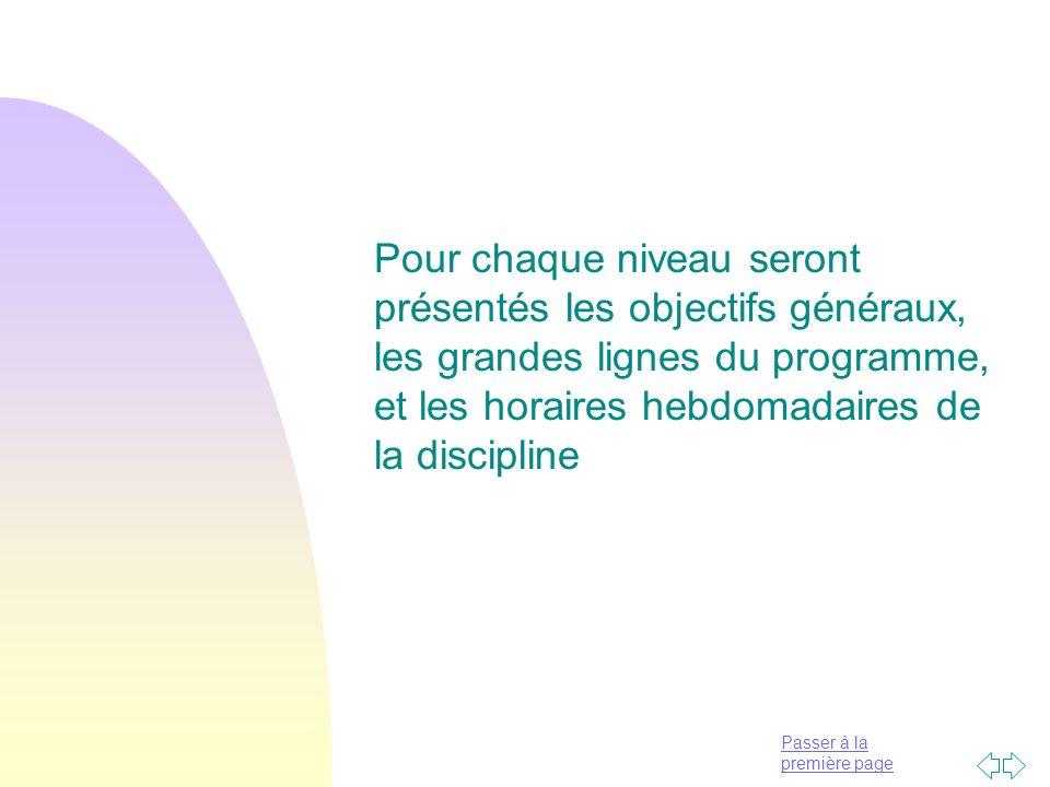 Pour chaque niveau seront présentés les objectifs généraux, les grandes lignes du programme, et les horaires hebdomadaires de la discipline