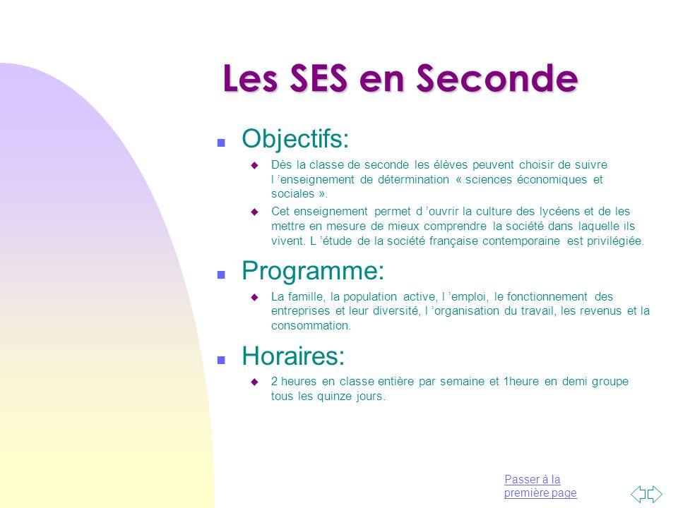 Les SES en Seconde Objectifs: Programme: Horaires: