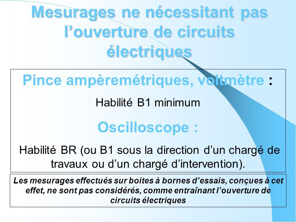Mesurages ne nécessitant pas l'ouverture de circuits électriques