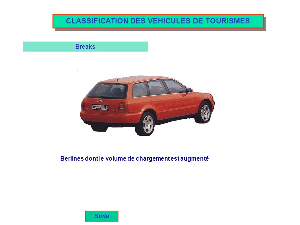 CLASSIFICATION DES VEHICULES DE TOURISMES
