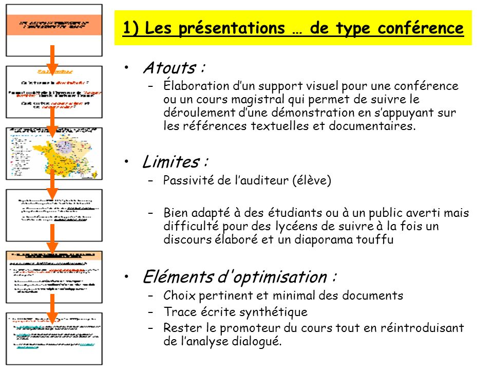 1) Les présentations … de type conférence