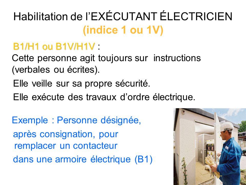 Habilitation de l'EXÉCUTANT ÉLECTRICIEN (indice 1 ou 1V)