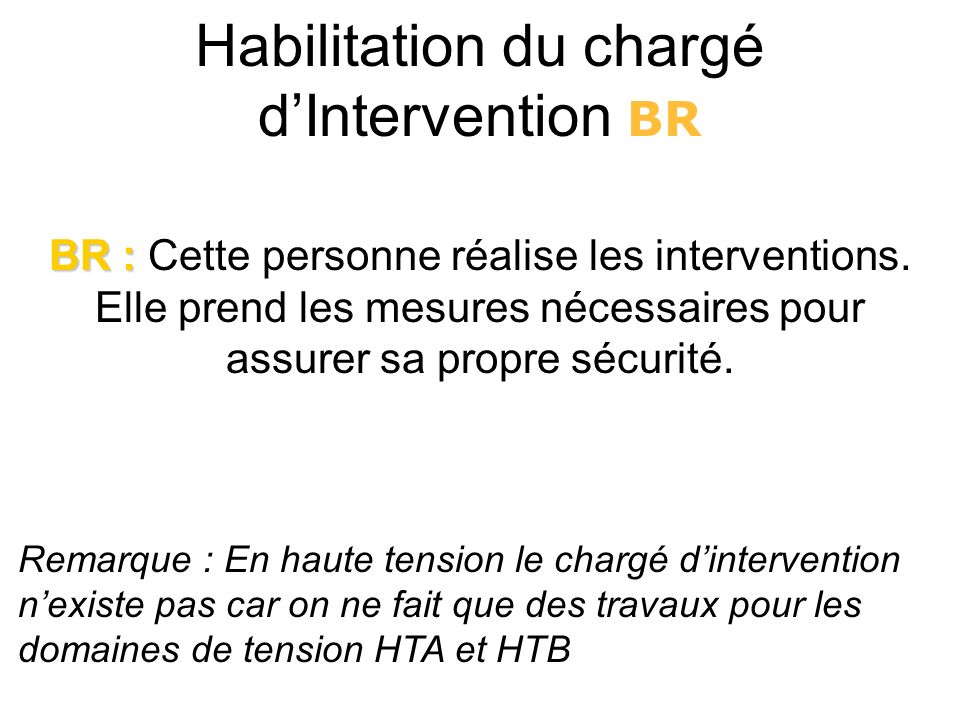 Habilitation du chargé d'Intervention BR