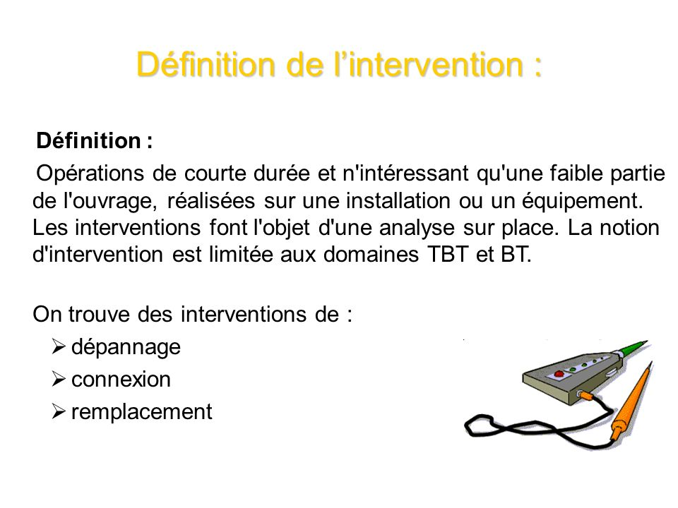 Définition de l'intervention :