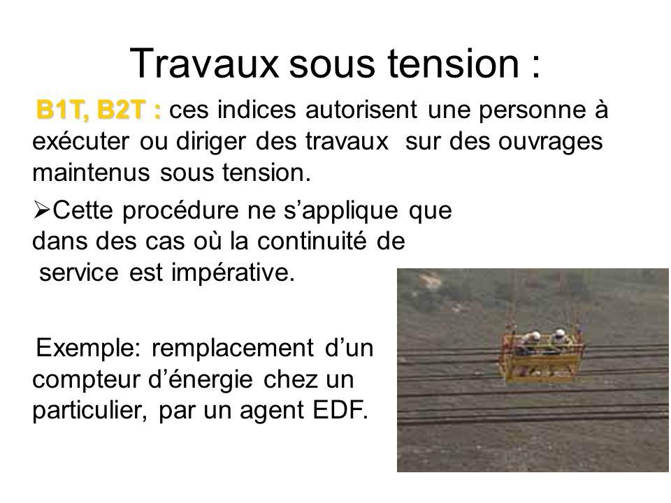Travaux sous tension :B1T, B2T : ces indices autorisent une personne à exécuter ou diriger des travaux sur des ouvrages maintenus sous tension.
