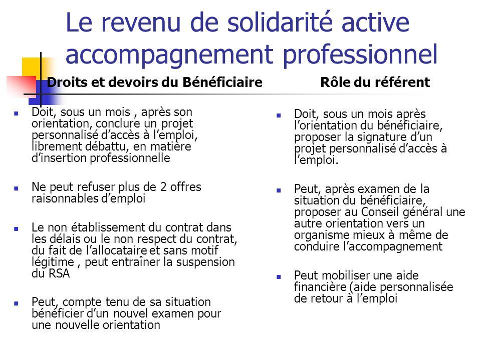 Le revenu de solidarité active accompagnement professionnel