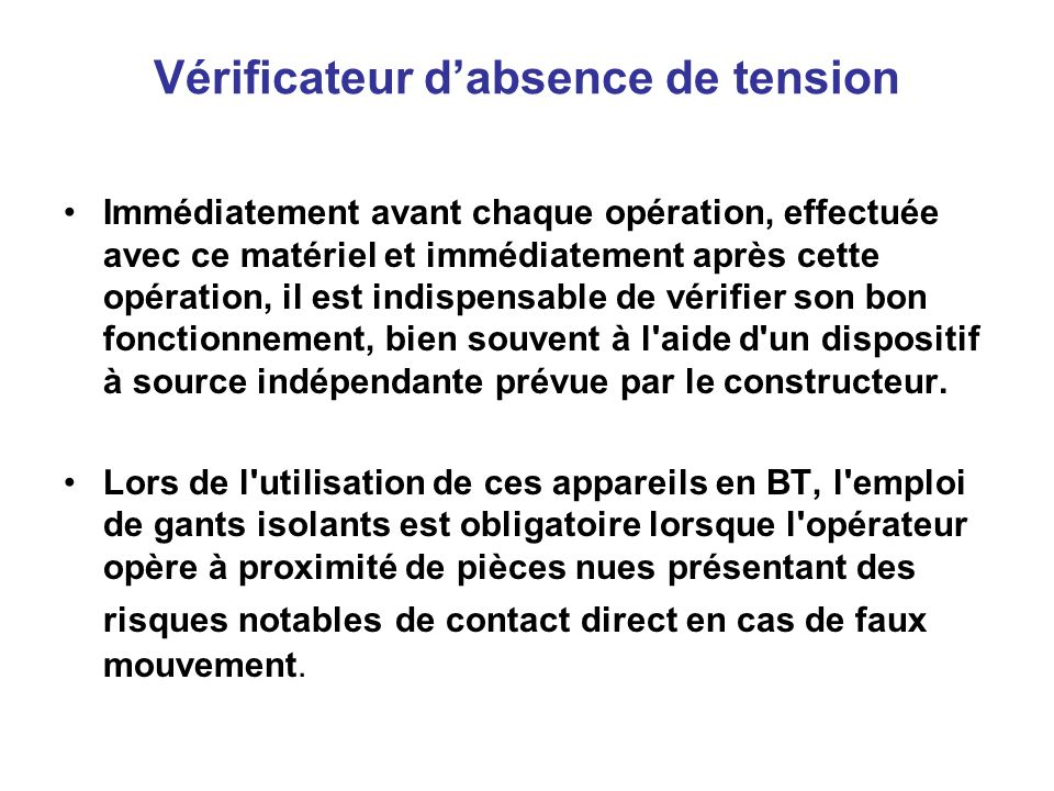 Vérificateur d'absence de tension