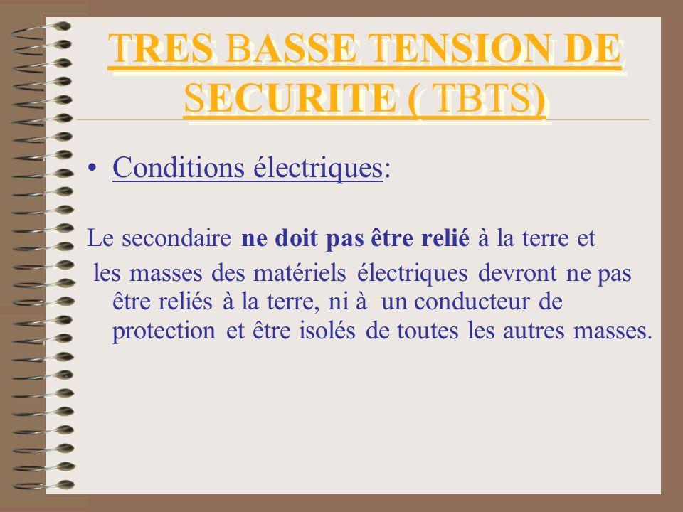 TRES BASSE TENSION DE SECURITE ( TBTS)