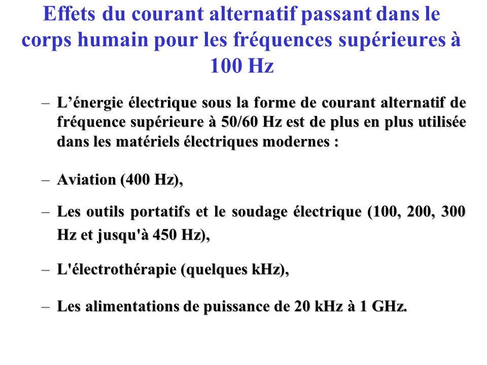 Effets du courant alternatif passant dans le corps humain pour les fréquences supérieures à 100 Hz