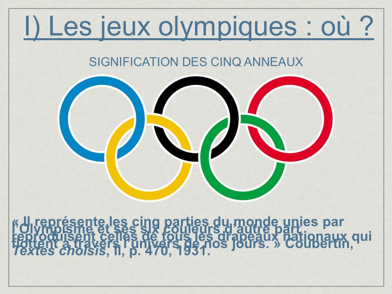 I) Les jeux olympiques : où