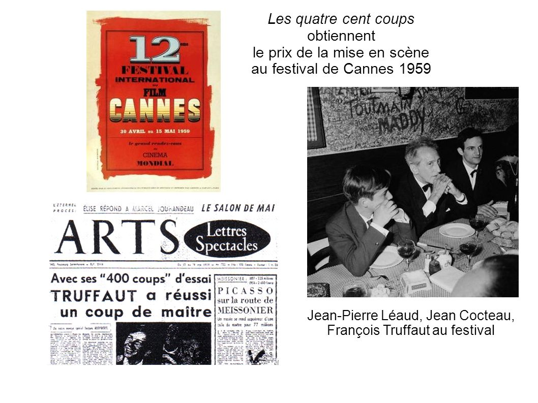 Jean-Pierre Léaud, Jean Cocteau, François Truffaut au festival