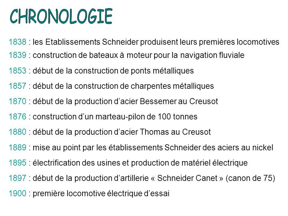CHRONOLOGIE 1838 : les Etablissements Schneider produisent leurs premières locomotives.
