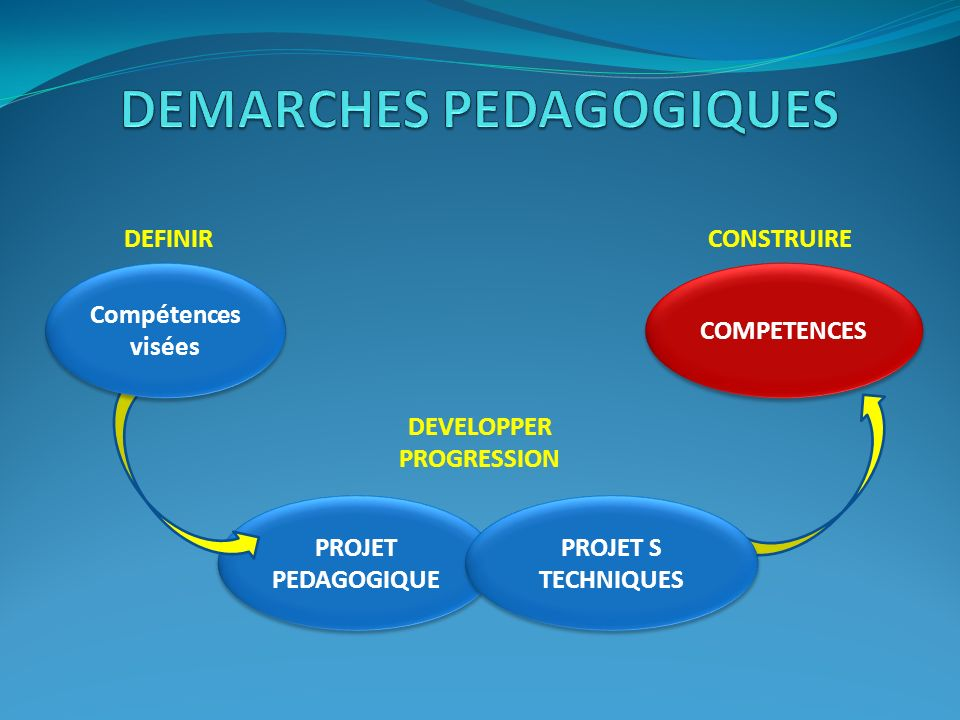 DEMARCHES PEDAGOGIQUES DEVELOPPER PROGRESSION