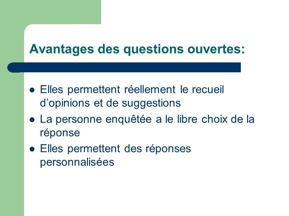 Avantages des questions ouvertes: