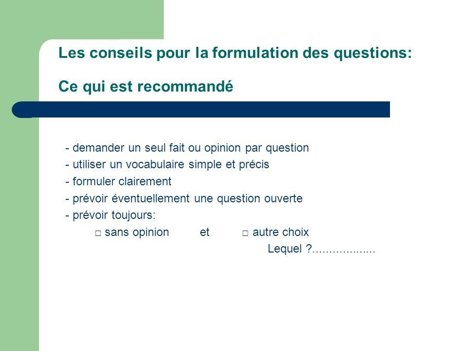 Les conseils pour la formulation des questions: Ce qui est recommandé
