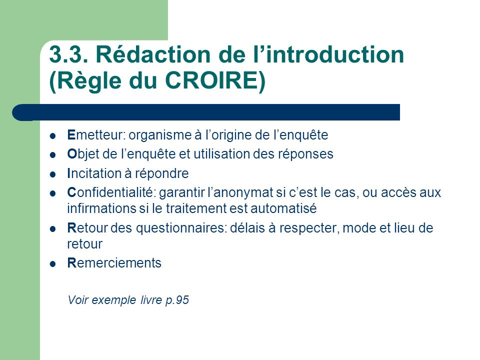3.3. Rédaction de l'introduction (Règle du CROIRE)