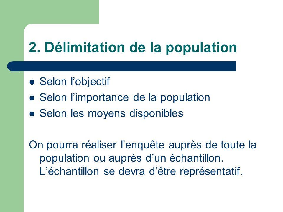 2. Délimitation de la population